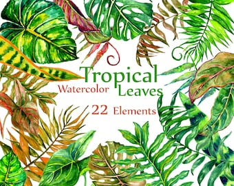 "Watercolor Tropical  Leaves clip art: ""LEAVES CLIPART"" Green leaf Handpainted clipart wedding invitation DIY invite greeting card"