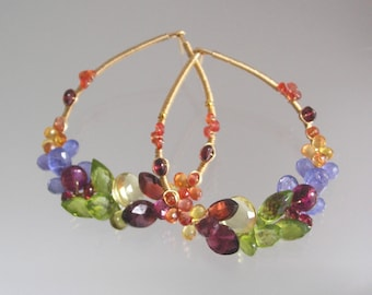 Gemstone Teardrop Posts, Rainbow Gem 14k Gold Filled Hoops, Tanzanite Earrings, Sapphire, Modern Bohemian, Vibrant Jewelry, Artisan Designed