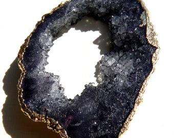 Gemstone Pendant Titanium Crystal Geode Druzy Agate Pendant Black Geode Pendant Gemstone Bead Black Pendant Gold Pendant