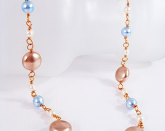 Copper Wire Wrapped Necklace with Rose Gold, Light Blue and Cream Swarovski Crystal Pearls