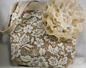 50% OFF!!  Lace and hessian tote medium size with zipper closure