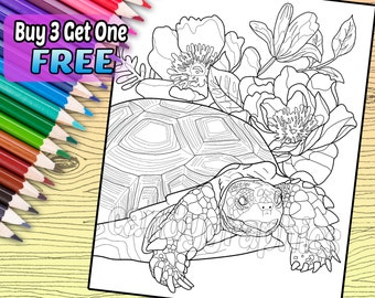 Tortoise and Flowers - Adult Coloring Book Page - Printable Instant Download