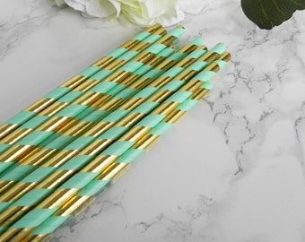 Gold and Green Striped Paper Straws- Gold and Green Straws-Wedding Straws- Birthday Party-Striped Paper Straws-Little Man Baby Shower Straws