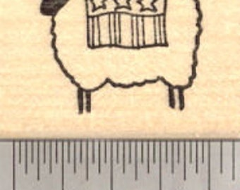 4th of July Lamb Rubber Stamp, Sheep with Flag (fourth of July, July 4th) D17509 Wood Mounted