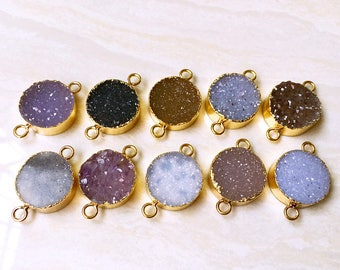 New Beautiful Agate Druzy Druzzy Drusy Round Shaped Double Bail Connector Pendant with Gold Electroplated S29B5-09