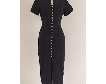 90's La Belle Full Button Slit Dress Pinup