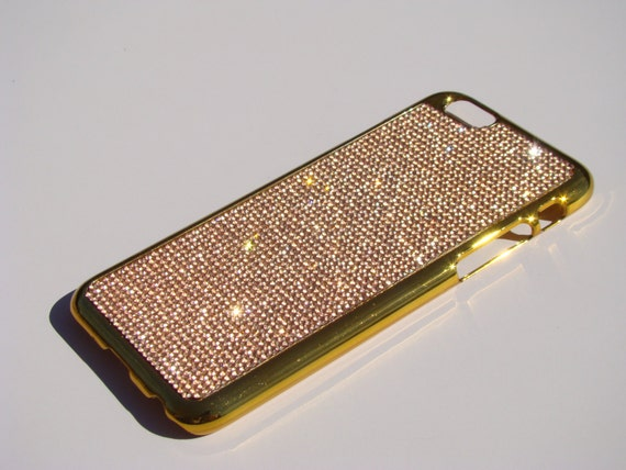 """iPhone 6 / 6s 4.7"""" Rose Gold Rhinstone Crystals on Gold-Bronze Chrome Case. Velvet/Silk Pouch Included, Genuine Rangsee Crystal Cases."""