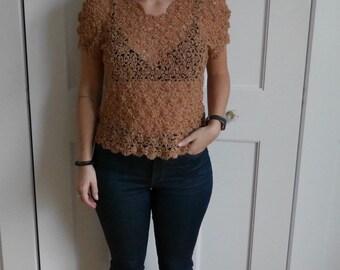 vintage caramel macrame shirt
