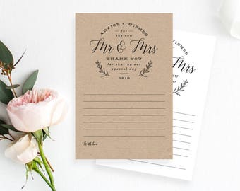Printable Rustic Wedding Advice Cards, Marriage Advice, Reception Decor, Instant PDF Download