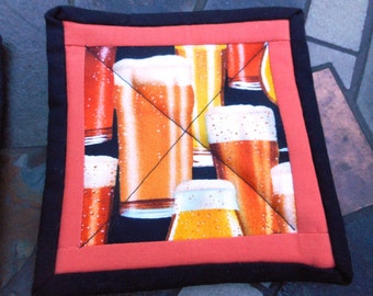 4 Quilted Mug Rugs, Coasters, Beer Holder, Hostess Gift, Housewarming gift