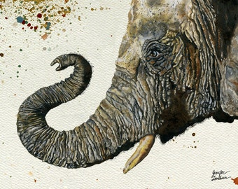 Art Print. Elephant Cyril. Multi Background