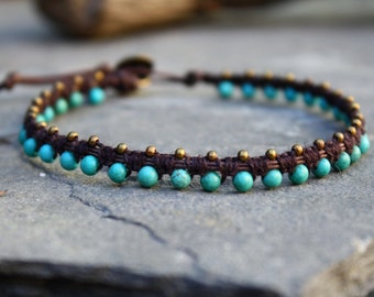 Anklet, Dark Chocolate, Magnesite Anklet, Macrame Anklet, Beaded Macrame, Waxed Cotton Anklet, Gifts for her,  Stone Anklet, Button Clasp