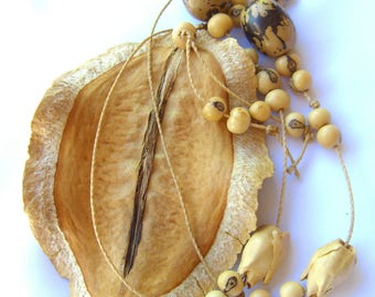 Natural Seed Pod Necklace - Oversized 1970s Hand Made Boho Nature Jewelry, Gifts for Her