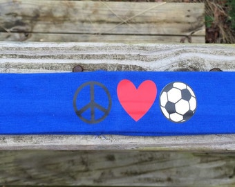 Peace, Love, Soccer~ 2 inch headband   ~
