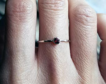 3mm Tiny Garnet Stacking Ring in 14k Yellow, Rose, or White Gold, Hammered, Matte, or High Polish Band - January Birthstone Mother's Ring