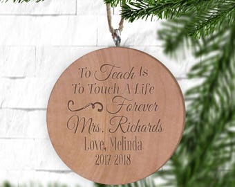 Personalized Teacher Ornament - Personalized Ornament - Engraved Wooden Gift Tag - Engraved Wooden Christmas Ornament - Wood Ornament