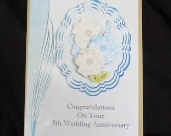 5th Wedding Anniversary Card, 3 D Anniversary Card, Your 5th Weddings Anniversary Card, Congratulations Card, Personalise, Handmade in UK