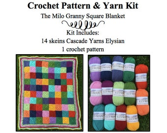 Yarn Kit & Crochet Pattern- Milo Granny Square Blanket Yarn Kit- superwash merino wool yarn, yarn kit, crochet pattern kit, crochet gift