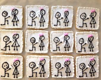 Engagement party proposal sugar cookie favors