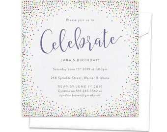 Sprinkles Invitation, Colorful Invitation, Birthday Party Invitation, Let's Celebrate, Bright Colors, Teen Party, Hundreds and Thousands