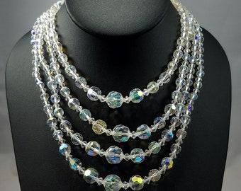 Vintage Austrian Crystal Aurora Borealis Clear Four Strand Necklace 1950, Swarovski AB Crystal Graduated 4 Strand Necklace, Wedding Necklace