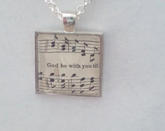 God be with you / sheet music - glass pendant necklace