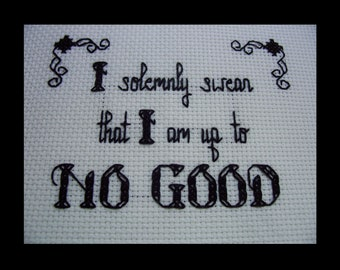 PDF cross stitch pattern - Up to No Good - Harry Potter quote