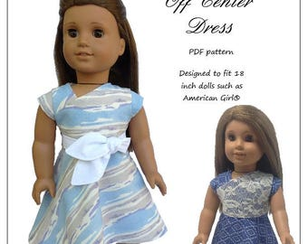 Pixie Faire Love From Lola Off Center Dress Doll Clothes Pattern for 18 inch dolls such as American Girl  - PDF