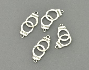 Antique Silver Tone Handcuffs Charm (AS00-0061)