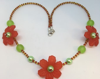 Lime green and red Large Flower Necklace Handmade Necklace-Gifts for women-Gifts for her-Ladies Jewellery-Ladies gifts Floral Necklace