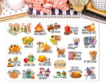 Fall Bucket List Planner Sticker, To do Stickers, Autumn Stickers, Erin Condren, Happy Planner