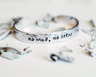 No Mud, No Lotus inspirational yoga bracelet. Lotus flower bracelet. Hand stamped quote bracelet. Yoga gift. Yoga jewelry. Moon. RTS CA012