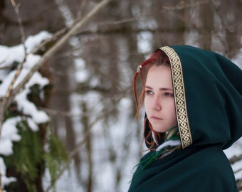 Hooded cloak, cloak with hood, fantasy cape, fantasy cloak, elven cloak, celtic braid, medieval cloak