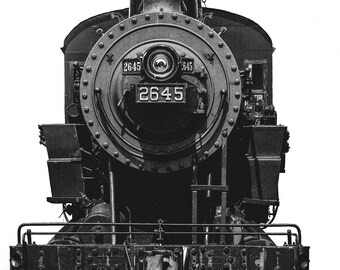 32 x 48 canvas black and white old steam engine