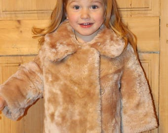 Kids coat Kids fur coat Soviet vintage kids faux fur coat Unisex toddler winter coat Soviet kids clothing Soviet kids winter coat