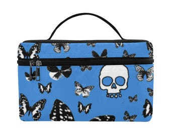 Blue Skulls & Butterflies on Blue, Large Insulated Lunch Bag, food storage, lunch bag