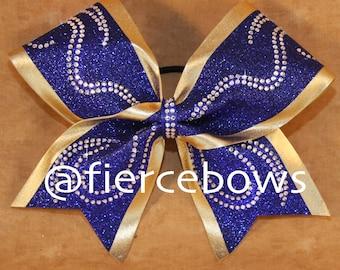 Swirly Girl Rhinestone and Glitter Competition Cheer Bow
