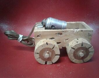 Vintage Saquero Wood Wagon  Lamp