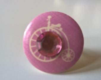 Penny Farthing Ring, Pink Ring, Wooden Ring, Rhinestone Ring, Retro Ring, Silver Ring, Adjustable Ring, Bicycle Ring, Steampunk Ring