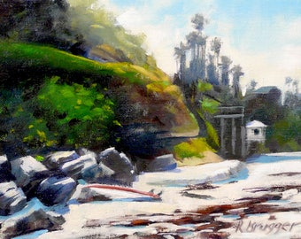 Encinitas, CA shoreline shoreline with red seaweed Oil on canvas panel painting 7x9 in