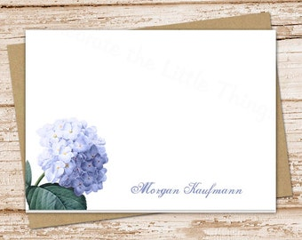 personalized notecards . blue hydrangea note cards . personalized stationery, stationary . folded cards . botanical, garden . set of 8
