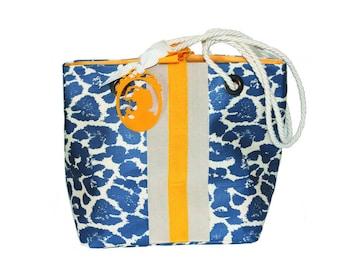 BLUE LEOPARD BEACH BAG