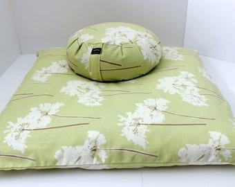 Meditation Cushion Set - Spring Dandelion Zabuton & Buckwheat Zafu