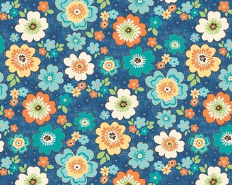Blue Floral Quilt Fabric, Riley Blake Road Trip C5621 Road Blossoms Blue, Orange, Yellow, Turquoise Flower Fabric, Cotton