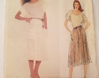 Vintage Vogue 2952 America Designer Adri Misses' Top and Skirt, Pullover Top Short Tucked Sleeves, A-Line Front Wrap Skirt.  Size 8.