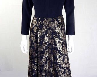 Original Vintage 1960s Black and Gold Maxi Dress UK Size 10