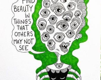Find Beauty (7x10 original)