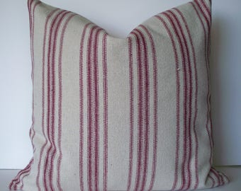 Farmhouse Pillow,Red Stripe Pillow,Grain Sack Pillow Cover Red