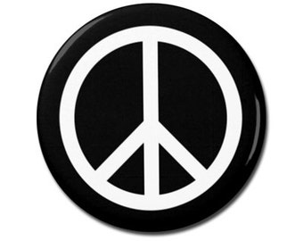 "Peace Symbol 1.25"" or 2.25"" Pinback Pin Button, Anti War, Peace Sign, World Peace, Peace on Earth"