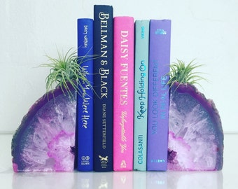 Agate Bookends // Boho Decor // Available in Pink, Purple, Blue, Teal and Natural // Grade A